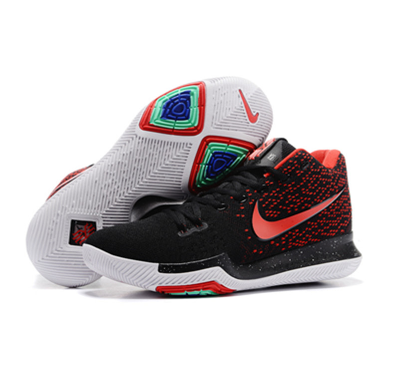 kyrie 3 shoes black white red